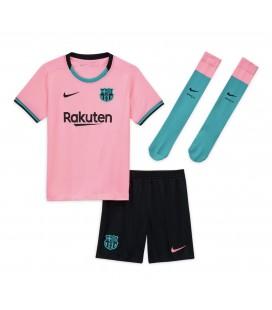 FC Barcelona třetí dětský fotbalový dres + trenýrky + stulpny